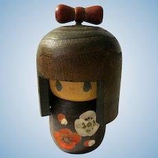 """4 1/2"""", Japanese Wooden Kawaii Kokeshi Usaburo Doll with Carved """"Ume"""" Plum Blossoms"""