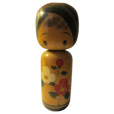 "7 1/4"", Signed Japanese Kokeshi Wooden Girl Doll with Botan Rose Blossoms"