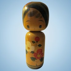 "7 1/4"", Signed Japanese Kokeshi Wooden Girl Doll with Botan Rose Blossoms"