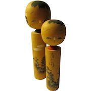 "4 1/2"", 3 1/2"", Japanese Kokeshi Pair with Hand Painted Feudal Castle and Lighthouse, Set of 2"