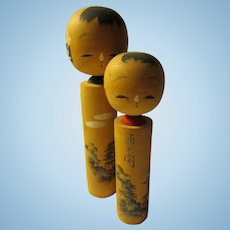"""4 1/2"""", 3 1/2"""", Japanese Kokeshi Pair with Hand Painted Feudal Castle and Lighthouse, Set of 2"""