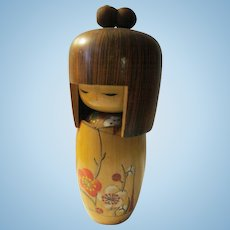 "6 1/4"", Hakone Onsen Kokeshi Doll with ""Ume"" Plum Blossoms on Her Kimono"