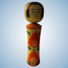 """9 3/4"""", Vibrant Signed Naruko Kokeshi Lady Doll with Two Red Flowers"""