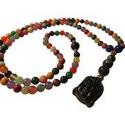 """108 Mala Prayer Multi-Gemstone Bead Necklace with Carved Stone Amulet of Buddha, 32"""""""