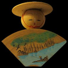 """2 1/4"""", Fan Shape Japanese Wooden Kokeshi with Painting of Fisherman in River Boat"""