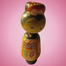 "2 1/16"", Japanese Little Geisha Wooden Kokeshi Doll on Spring Base"