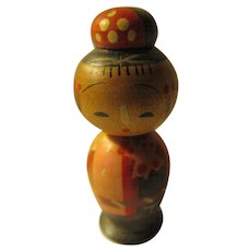"1 1/8"", Miniature Girl Kokeshi with Fine Hand Painted Motifs"