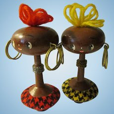 """3 1/2"""", Rare Vintage Handcrafted Wooden African Dolls in Japanese Kokeshi Style, Set of 2"""