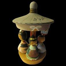 """3 1/2"""", Miniature Merry-Go-Round Kokeshi of Three Painted Dolls"""