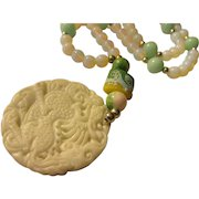 """Mythical Dragon-Goat Beast White Jade Pendant with Moonstone Bead Necklace, 24"""""""