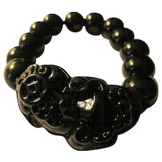 All-Black Agate Bead Expandable Bracelet with Chinese Foo Lion Dog Charm
