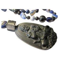 "Black Obsidian Kwan Yin Pendant with Mix Gemstone-Glass-Ceramic Bead Necklace, 22"""