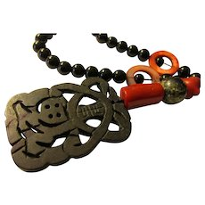 """Carved Black Serpentine Jade Pendant with Red Coral, Mother-of-Pearl, Black Agate Bead Necklace, 22"""""""