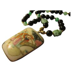 Vintage Chinese Pottery Shard Pendant with Czech Buddha Charms, Jade and Agate Bead Necklace, 20""