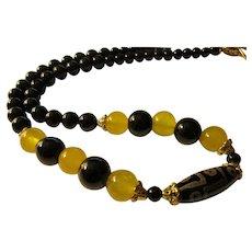 "Tibetan 9-Eyed Dzi-Black Agate-Yellow Gemstone Bead Necklace, 24"""