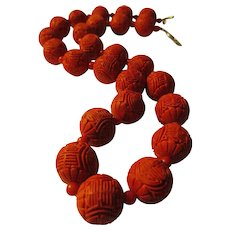Carved Chinese Red Cinnabar Bead Necklace with Shou Motif, 21""