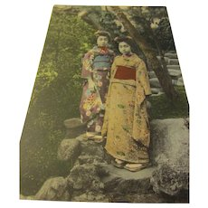 Vintage Tinted Japanese Photo Postcard of Two Young Geishas