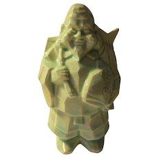 "Ebisu, Lucky God of Good Fortune and Prosperity Celadon Ceramic Figurine, 5 3/4"""