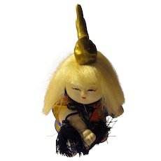 Japanese White-Haired Little Boy Warrior Bisqueware Figurine, 4 1/4""