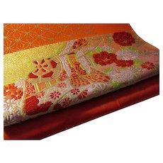 """Japanese Vermillion Orange Gold Threaded Floral Obi Belt-Table Runner, 11"""" x 120"""""""