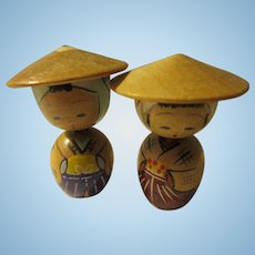 "2"", Man and Wife Farmers Kokeshi Dolls"