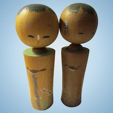"""3 1/2"""", Little Sparrows Hand Painted on Pair of Kokeshi"""