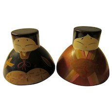 "1 1/2"", Sake Cup Feudal Lord and Lady Kokeshi Dolls"