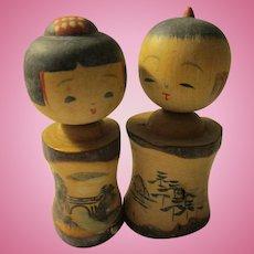 "2 3/4"", Japanese Kokeshi Couple with Hand Painted Images of Ise Peninsula"