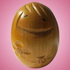 "2 3/4"", Egg-Shaped Girl Kokeshi with ""Ume"" Plum Blossom Motif"
