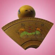"2 1/4"", Fan Shape Japanese Wooden Kokeshi with Hand Painted Pagoda"