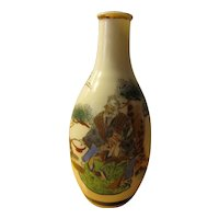"""Japanese Sake Bottle with Auspicious Hand Painted Images, 5 1/2"""""""