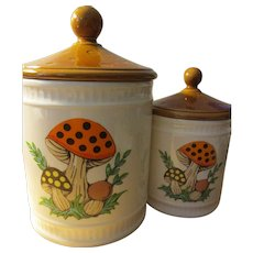 Vintage 1982 Sears, Roebuck and Co. Ceramic Canisters with Mushroom Motif, Set of 2