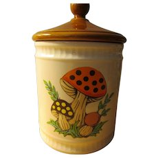 """Vintage 1982 Sears, Roebuck and Co. Ceramic Canister with Mushroom Motif, 7"""""""