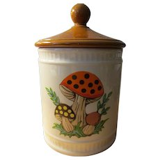 Vintage 1982 Sears, Roebuck and Co. Ceramic Canister with Mushroom Motif, 9""