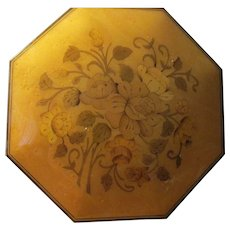 Made in Italy Wooden Hexagon Musical Jewelry Box with Rose Motifs