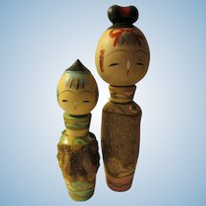 """4 1/4"""", 3 1/4"""", Knotty Wood Branch Mother and Son Kokeshi Pair"""