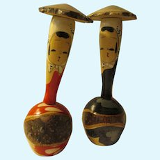 """4 1/4"""", Red and Black Woody Branch Farmer's Daughters Kokeshi Dolls with Elongated Necks"""