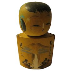 "3"", Wooden Wedge Kokeshi Boy Doll with Painted White Waterfall - Red Tag Sale Item"