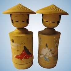 """4 1/2"""", Hand Painted Archer Samurai and Lady of the Court on White Wood Kokeshi Dolls"""