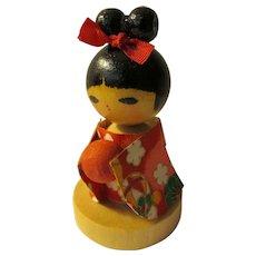 "2 1/2"", Raven-haired Girl Kokeshi with Japanese Washi Paper Kimono"