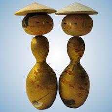 "4 1/4"", Autumn Leaves-Wood Chopping Kokeshi Dolls"