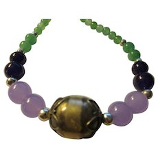 """Balinese Silver Focal Bead with Green Jade-Purple-Lavender Gemstone Bead Necklace, 21"""""""