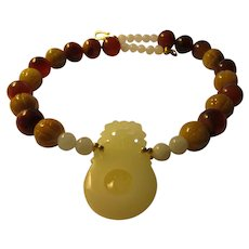 Stunning White Jade Dragon Pendant with Carved Honey Jade and Carnelian Gemstone Bead Necklace, 21""