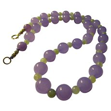 """Lavender and Celadon Green Jade Bead Necklace, 21"""""""