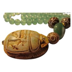 Egyptian Scarab Pendant with Jade-Aventurine Gemstone Bead Necklace, 25""