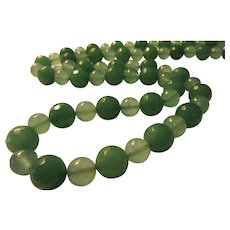 Faceted Jade Bead with Smooth Green Aventurine Bead Necklace, 28""