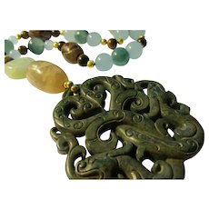 Grayish-Blue Double Dragon Jade Pendant with Jade-Dzi-Tiger Eye-Agate Gemstone Bead Necklace, 21""