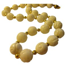 """White Seashell Beads Carved with Chinese Shou Motif Necklace, 22"""""""