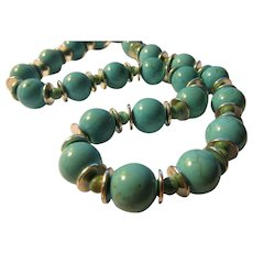"""Turquoise-like Magnesite Bead Necklace with Silver Metal Discs, 24"""""""