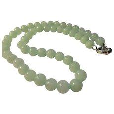 "Soft Pastel Bluish-Green Jade Bead Necklace, 19"""